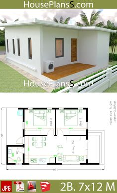Small House Design Plans with 2 Bedrooms Full Plans - House Plans Sam Small House Design Plans with 2 Bedrooms Full Plans – House Plans Sam House Design Mini House Plans, Bungalow House Plans, Bungalow House Design, Best House Plans, Modern House Plans, Small House Plans, Full House, House 2, Village House Design