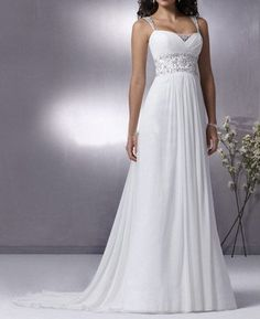 Grecian Chiffon Wedding Gown with Detachable Cap Sleeves by ieie, $329.99