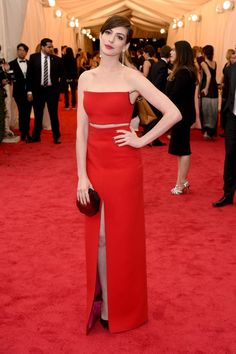 Pin for Later: Anne Hathaway Is a Met Gala Lady in Red