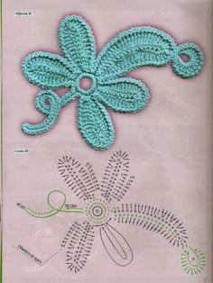Irish Crochet Patterns, Crochet Motifs, Freeform Crochet, Crochet Diagram, Crochet Designs, Crochet Stitches, Irish Crochet Charts, Roses Au Crochet, Crochet Leaves