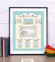 Poster Infantil Minha Chegada - decoração, bebê, foto, parede, nascimento, moldura, quadro, maternidade, poster, homenagem