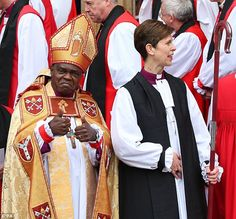 Support: The Archbishop of York, John Sentamu, gives a thumbs-up sign outside the cathedral after his part in the consecration of Libby Lane as the first Church of England female bishop.
