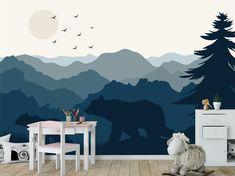 Woodland Wallpaper Boys Nursery. Blue Ombre Mountain Wallpaper Mural. Bear Family Wallpaper Kids Roo