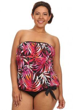 67b132956a2c0 Dippin Daisys Swimwear Womens 2PC Blouson Tie Tankini Orange Leaves Plus  Sizes