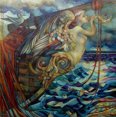 from Mermaids and Mermen by Sue Hughes Art Original, Original Paintings, Artwork Paintings, Illustrations, Illustration Art, Ship Figurehead, Mermaids And Mermen, Tempera, Sea Creatures