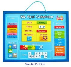 NEW Wooden Magnetic Childrens MY First Calendar Weather Chart Educational | eBay