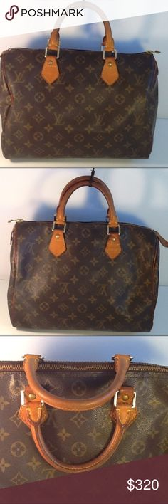 Authentic Louis Vuitton Speedy 30 Monogram Satchel The leather and straps showed signs of used. The canvas showed wearing on the 4 bottom corners. The bag was made in France with a date code TH 0013. The zipper pull leather piece got ripped. No lock and key. Louis Vuitton Bags Satchels