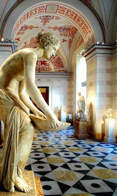 """statues-and-monuments: """"statues-and-monuments Nymph Holding a Shell by Jasper Rooms Hermitage/Winter Palace, St. Beautiful Home Gardens, Winter Palace, Hermitage Museum, Ivy House, Stone Statues, 10 Picture, Art Hoe, Greek Art, Ancient Art"""