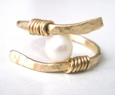 Gold Pearl Ring Wire Wrapped Ring Brass Gemstone by CollectionRED, $18.00