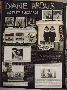 An artist research page of Diane Arbus in this photography sketchbook.