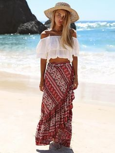 Boho fashion 325033298102709805 - Boho Maxi Skirt Ruffles Print Slit Asymmetrical Brick Red Wrap Skirt Source by xaviertinseau Maxi Skirt Outfits, 30 Outfits, Maxi Skirt Boho, Beach Skirt, Boho Skirts, Boho Outfits, Boho Dress, Maxi Skirts, Maxi Wrap Skirt