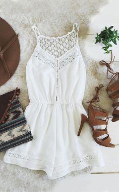 2f80703d53ca White Romper Outfit, White Lace Romper, Boho Romper, Floral Romper,  Jumpsuits And