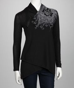 asymmetrical cardi with shoulder zipper