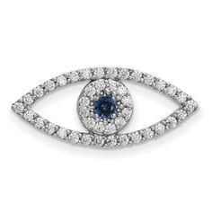 14k White Gold Medium Diamond and Sapphire Evil Eye Pendant XP5041WS/AA