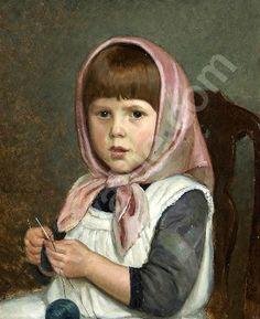 Adolf von Becker (1831 – 1909, Finnish) - Knitting Girl