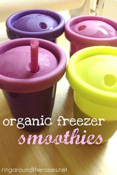 Freezer smoothies - would be perfect for Josiah for lunch next year! Never thought of putting them in the freezer! Gotta find some cups like these that wont leak!