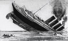 Within seconds of the initial shock, the great passenger liner listed and began to sink, her four funnels belching smoke. Women and children shrieked in panic, and lifeboats swung drunkenly.