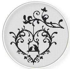 Buy 4 get 1 free ,Buy 6 get 2 free,Cross stitch pattern, Cross-StitchPDF, pattern design ,heart  birds ,zxxc0222. $4.00, via Etsy.