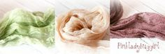 3 natural colored hand dyed cheesecloth wraps by pinkladybuggirl, $15.00