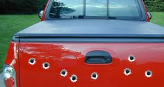 "Bullet Holes car decals come in pack of 10 stickers: each bullet hole is 1.5"" diameter.Made of premium vinyl material. Appropriate for indoor/outdoor and long term use. Made in the USA."