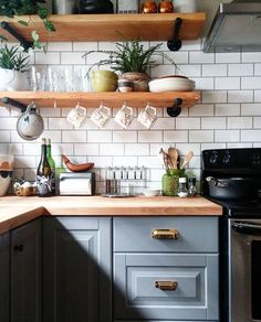 Unusual DIY Kitchen Open Shelving Ideas,Kitchen ideas furnishing country house with wood. Unusual DIY Kitchen Open Shelving Ideas Elevate Your Room With New Kitchen Deco. Kitchen Shelves, Kitchen Dining, Kitchen Decor, Kitchen Island, Kitchen Paint, Glass Shelves, Kitchen Drawers, Kitchen Interior, Open Cabinet Kitchen