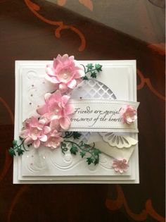 Heartfelt Creations Daisy Stamps and dies Honey Doo Crafts, Heartfelt Creations Cards, Wedding Cards Handmade, Spellbinders Cards, Cards For Friends, Friend Cards, Embossed Cards, Square Card, Flower Cards