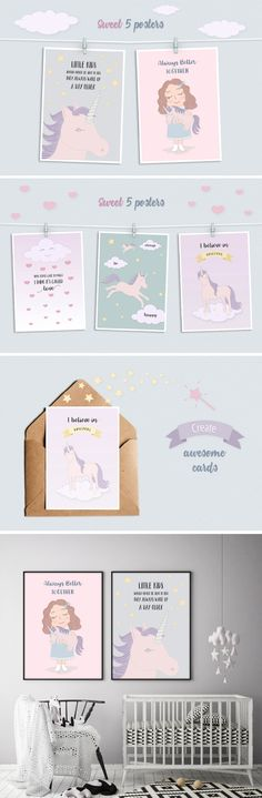 Cute Funny Unicorn Illustration Posters and Cards 8$ - kit of 5 sweet vector, fantasy drawings in kids sketch style, looks magic and cool. Bundle includes: girl character hugging pink baby unicorn, 2 royal animals flying with clouds. Set made in cartoonish flat style in pastel Scandinavian colors. Use pack for cards, prints, quotes on the wall, children books, birthday, invites, unique t-shirts, stickers, wallpaper design images or backgrounds, artworks for sale, coloring book pictures or…