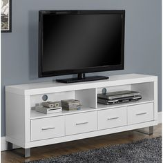 TV Stand White Modern Fits Up To 60 inch Flat Screen TV Tv stands