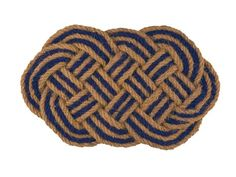 Braided coir doormat in natural and navy, $35, rejuvenation.com