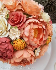 Paper Bouquet - Paper Flower Bouquet - Wedding Bouquet - Peach and Coral - Custom Made - Any Color(Etsy のmorepaperthanshoesより) https://www.etsy.com/jp/listing/179199239/paper-bouquet-paper-flower-bouquet