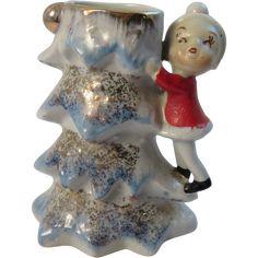 Vintage Elf Climbing Blue Christmas Tree Vase
