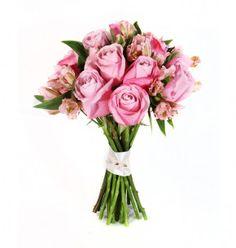 Bouquet de rosas e alstroemerias lilas