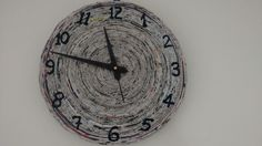 Wall clock made of recycled paper