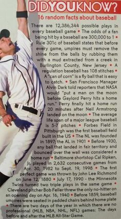 16 Random Facts about Baseball