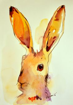 Yellow bunny original watercolor painting. Contemporary water colour. Hare wall art for living room. Rabbit water color. Watercolour picture by AlisaAdamsoneArt on Etsy https://www.etsy.com/listing/463325591/yellow-bunny-original-watercolor
