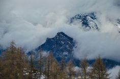 Swiss mountains hidden in the clouds L