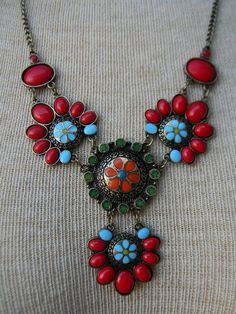 BOHO Anthropologie Style / Bohemian / Tribal / FLOWER  Red & Turquoise Color STATEMENT Necklace via Etsy