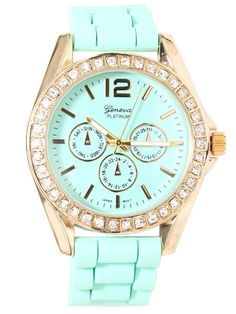This mint watch would be perfect with some cute mint wedges, white jeans, and a bright top.