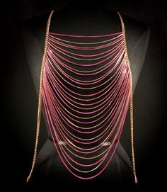 Body Chain Pink Gold Draping Metal Chains Dress Armor Avant Garde Designer Fashion Statement... most suitable around lingerie... #bridal #lingerie...