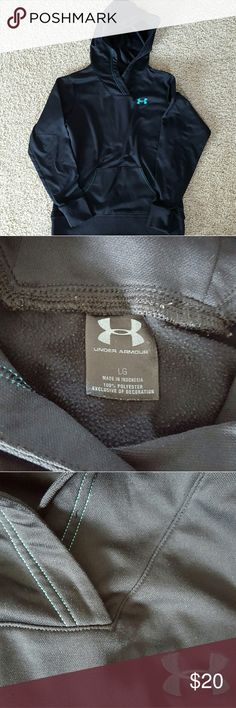 Under Armour sweatshirt Great condition Under Armour sweatshirt. Black with green/blue symbol Under Armour Tops Sweatshirts & Hoodies