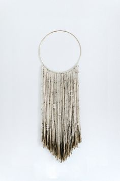 Gold Dipped Macrame White Yarn Wall Hanging With Gold Ring   Alaskan  Handmade