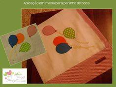 Aplicação em tecido de fralda para paninho de boca - balões - Além Brasil
