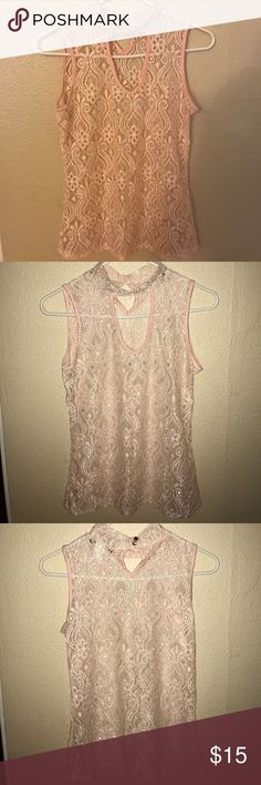 Pink Lace top See pictures for details beware Tops
