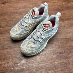 e343d533316 2018 Nikelab Air Max 98 x Supreme Snakeskin Silver Yellow White 844694-100  Chaussures Populaires