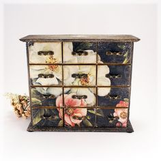 Shabby Black Elegance Wooden Mini chest drawers,Apothecary Cabinets, classic style , Vintage look decoupage,Made to Order