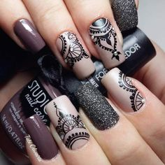 Best Ideas For Nail Art Designs To Inspire Your Imagination Nail Stamping stamping nail art avec quel vernis Nagel Stamping, Stamping Nail Art, Lace Nail Art, Lace Nails, Mandala Nails, Nagellack Design, Manicure E Pedicure, Brown Nails, Types Of Nails
