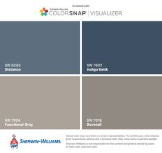 I found these colors with ColorSnap®️️ Visualizer for iPhone by Sherwin-Williams: Distance (SW 6243), Functional Gray (SW 7024), Indigo Batik (SW 7602), Dovetail (SW 7018).