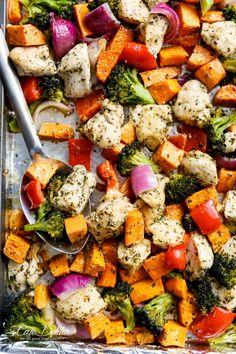 5. Garlic Herb Chicken and Sweet Potato Sheet Pan Meal Prep #greatist https://greatist.com/eat/one-pan-meal-prep-recipes