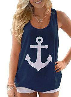 Voguegirl Women Boat Anchor Print Sleeveless Tank Tops Vest Blouse.Color: Black,Blue,Pink,Yellow,white,Navy.Material: Cotton Blend Gender: Women, Girl,Pattern Type: Anchor Skull Neckline: Round Neck. Sleeve: Sleeveless.