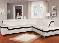 2 pc Zion white genuine leather sectional sofa with chrome legs. This set includes the 2 pc sectional sofa with adjustable headrests and chrome legs. Sectional measures x L x D x - H. This set is KD , Ready to assemble. Sofa Bed Set, Leather Sectional Sofas, Living Room Sofa Design, Modern House Design, Decorating Your Home, Modern Furniture, Chrome, Tv Unit, Legs